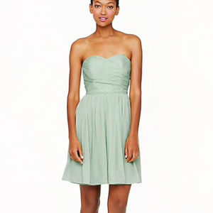 J CREW ARABELLE 100% SILK CHIFFON MINT GREEN DRESS